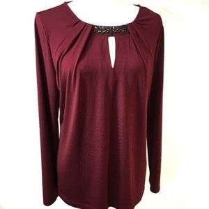 BNWT - Liz Claiborne Career Burgundy Top - Size XL